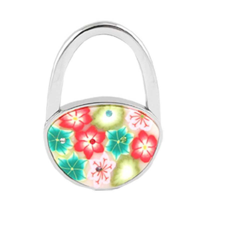 TOYL Foldable Multicolor Flowers Detail Padlock Handbag Purse Table Hook(China (Mainland))