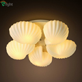 5 Head Simple Modern Glass Led Chandelier Glass Shell Iron Ceiling Chandelier For Foyer With 5pcs