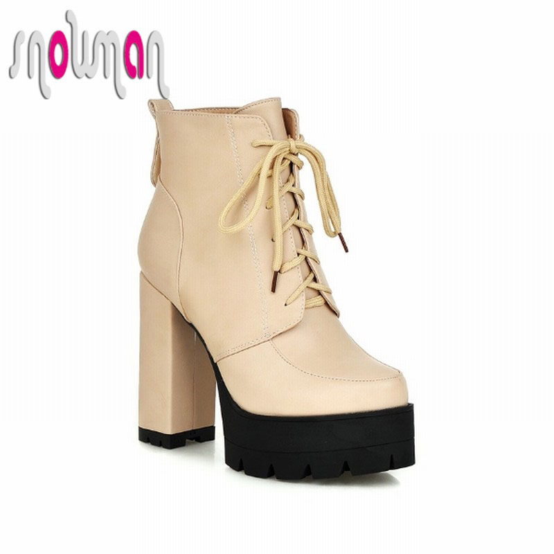 Steady Thick High Heels Platform Ankle Boots Fashion Lace up Spring Autumn Boots Winter Shoes Woman Party Casual Winter Boots<br><br>Aliexpress
