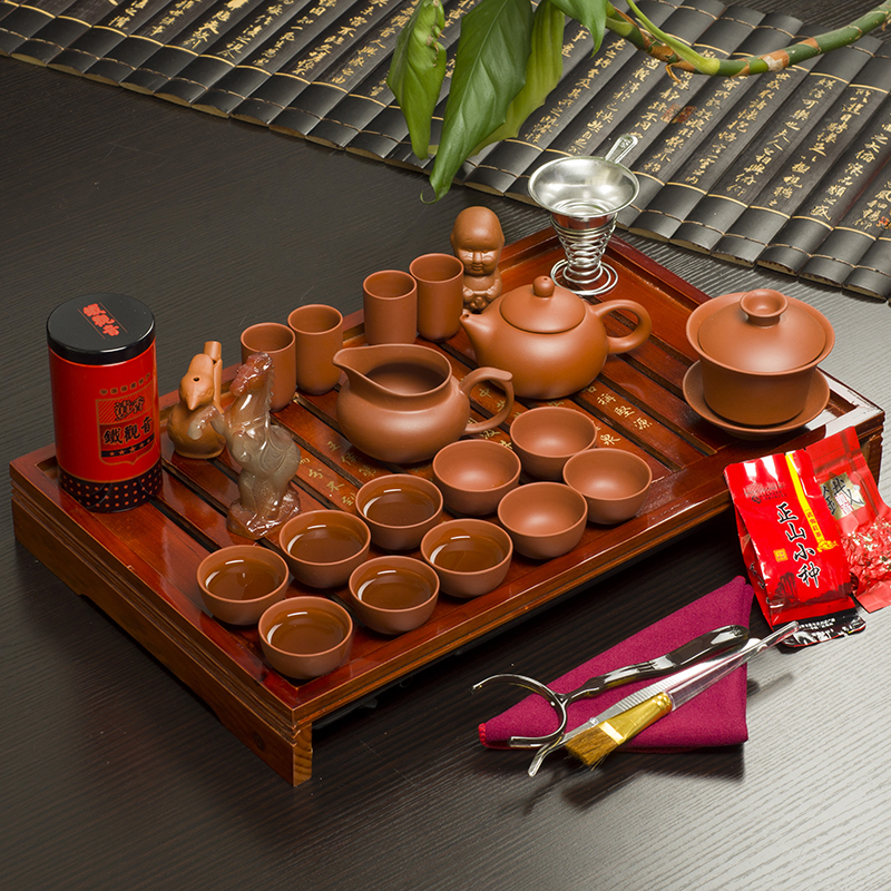 Hot Drinkware Chinese Tea Set Solid Wood Tray Yixing Purple Clay Pot Tureen Red Cup Mugs - love home warm store