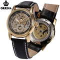Automatic Watch Men Orkina Skeleton Mechanical Black Leather Mens Fashion Wrist Watches 2017 Montre Automatique Homme