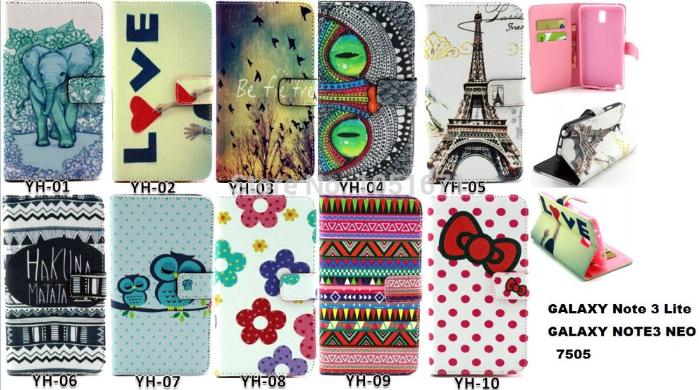 1PCS Flower PU Wallet Leather Case for Samsung Galaxy Note 3 Lite Neo N7505 N7506V Note 3 Mini With Credit Card Holder Cover(China (Mainland))