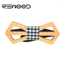 Rewood 2016 Hot Sale European Fashion Personality Accessory Hollow Design Wood Hip Hop Bow Tie For Men Butterfly Neck Tie