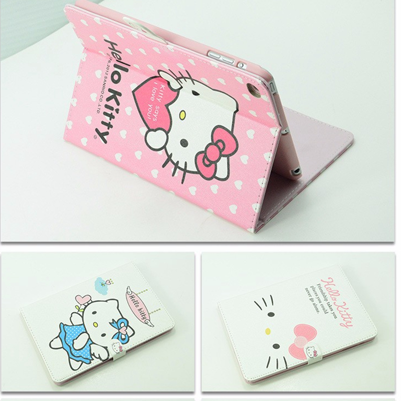 NEW Hello Kitty PU Leather Tablet Cover Case for iPad mini 1 2 3 Stand Cover Cartoon Character(China (Mainland))
