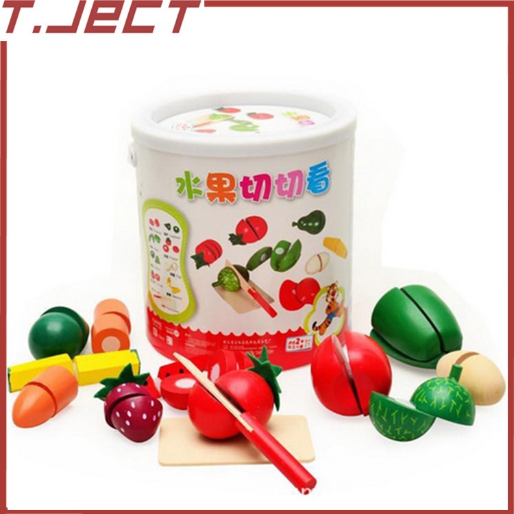 Wooden fruit slice and see bottled toy house earnestly music cut vegetables infant Tong Yizhi Teddy(China (Mainland))
