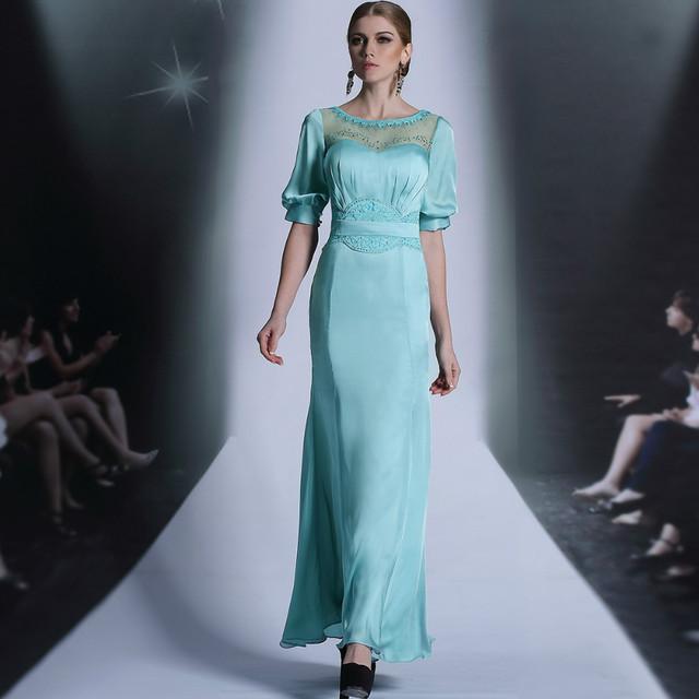 Free shipping original design DORISQUEEN 30893 sexy A -line elegant floor length half sleeve blue lady long evening gown 2015