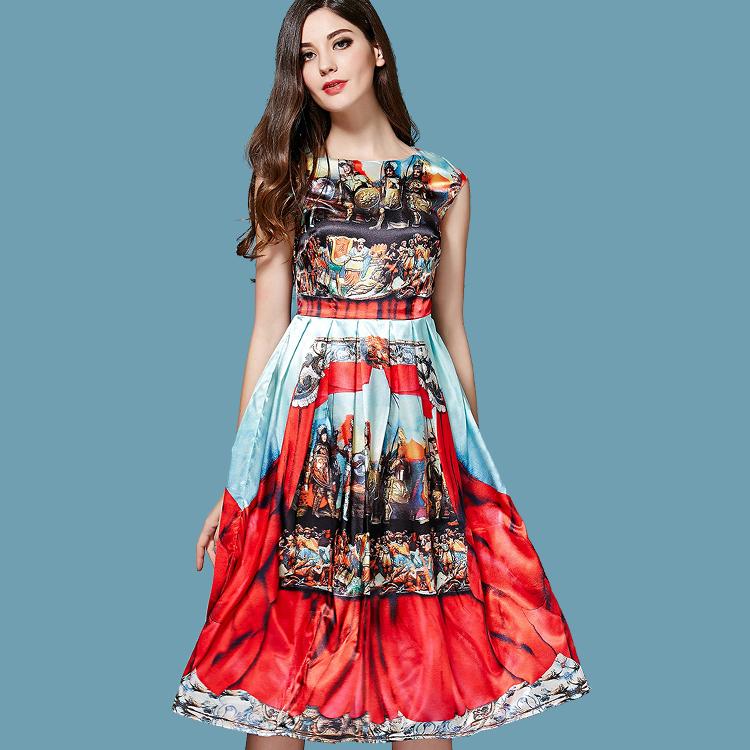 Runway Dress 2015 Summer Fashion High-end Digital Printing Warriors Georgette Satin Brocade Noble Women's Dress Plus Size XXXL(China (Mainland))