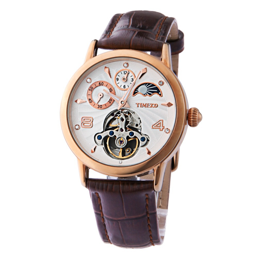 2014 Hot Sale Time100 Fashion Sun Phase Multifunction Skeleton luxury brand Leather Strap Self-wind Mechanical Watch#W60011M<br><br>Aliexpress