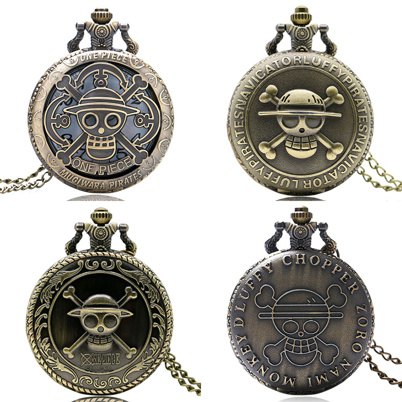 One Piece Japan Famous Anime Pocket Watch Pirate Skull Pattern Luffy Vintage Quartz Round Dial for Men Women Kids Necklace Gift(China (Mainland))
