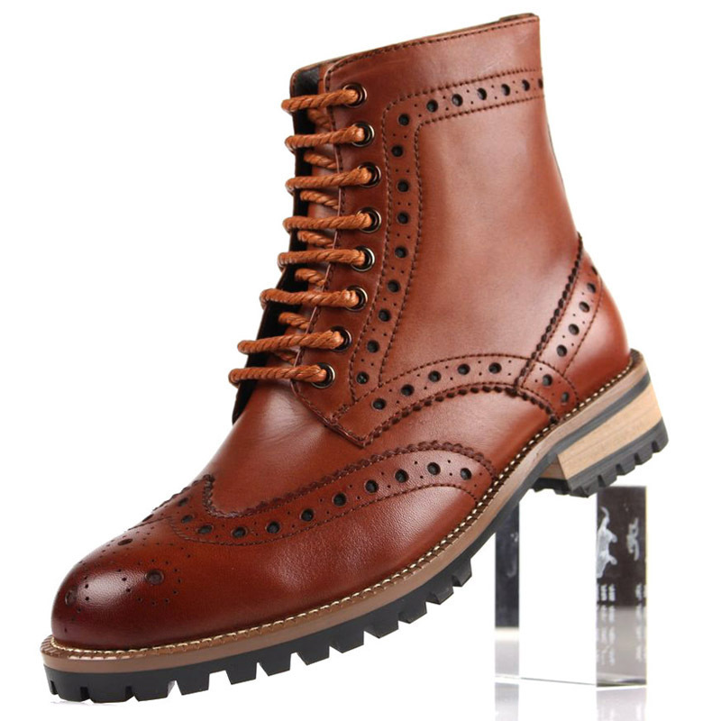 New 2015 autumn men hot fashion boot lace-up top grade genuine leather classic retro carved men dress ankle boot size:6.5-11BO27(China (Mainland))