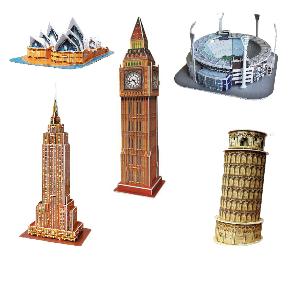 Mini Educational 3D Model Puzzle Jigsaw Leaning Tower of Pisa Sydney Opera House Empire State Building Melbourne Cricket(China (Mainland))