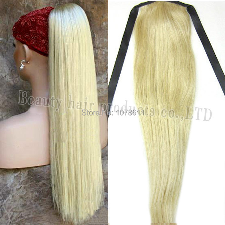 100% Real H-uman Hair Women Straight drawstring Ponytail color 613# Blonde 16/20/24/28inch 120g/piece Accept Custom Order new<br><br>Aliexpress