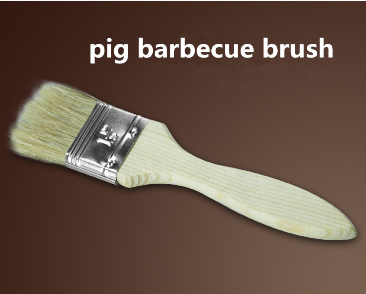 Free Shipping Basting Brushes Out Door BBQ Oil Brush Wooden Handle Pig Roast Pig Barbecue Brush Practical Oil Brush In Store(China (Mainland))