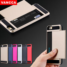 VANCCA Armor Slide Spacious Credit Card Case For iPhone6 6s 4.7 inch Slot Wallet ID Layer Shock Proof Skin Hard Cover Shell Rose
