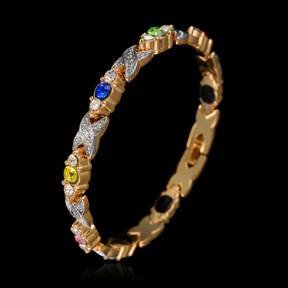 2016 New Fashion 18K Gold Plated Copper Bracelet Bohemia Jewelry Multicolor Crystal Bracelet Valentine's Gift For Women Pulseria(China (Mainland))