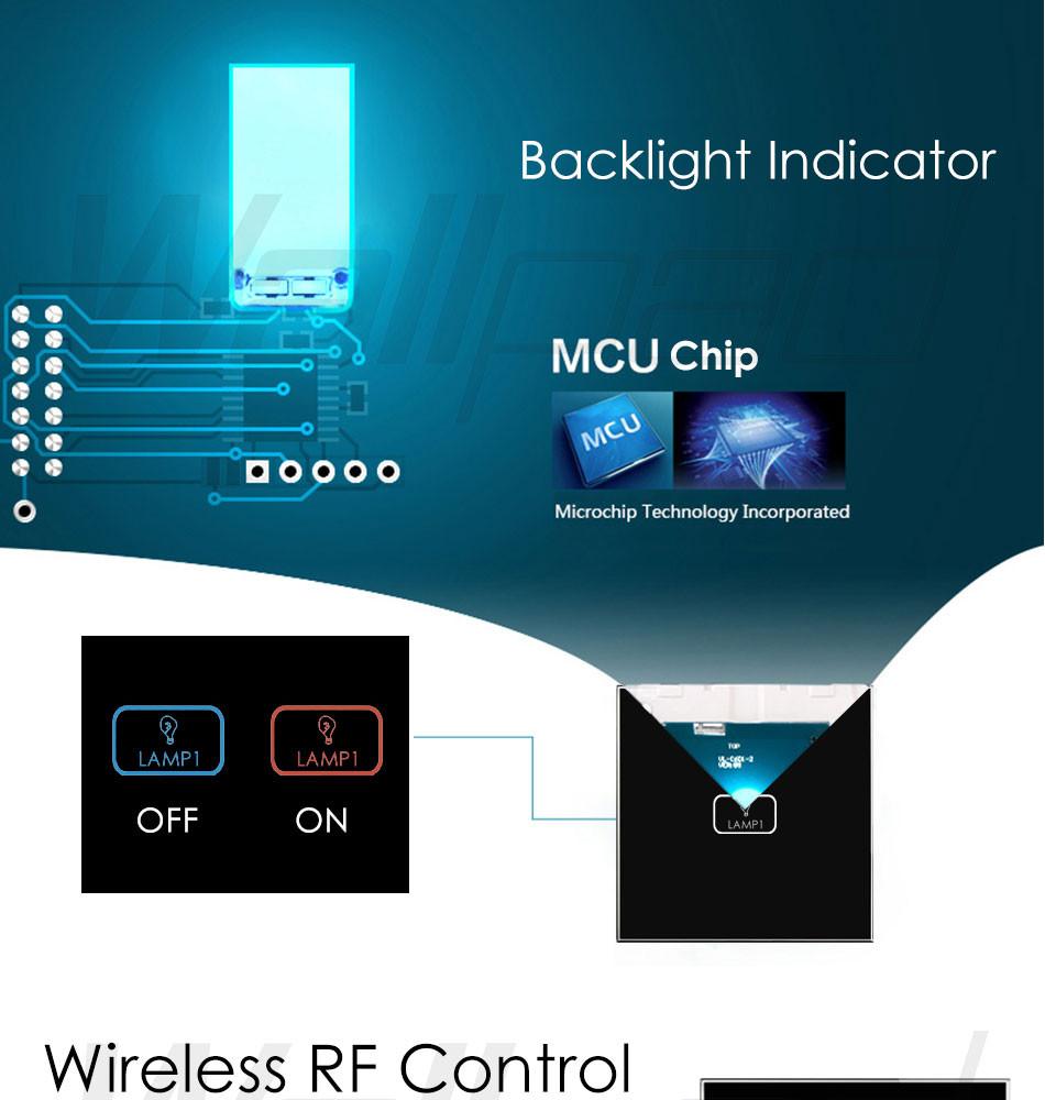 Купить Пульт дистанционного Затемнения Управления Wallpad Современное Белое Стекло Свет Wirelss пульт дистанционного управления 3 Банды 2 Способ 3 Способ Сенсорный Диммер Выключатель Света