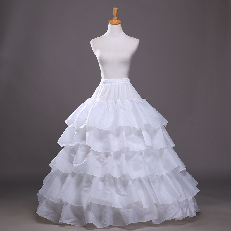 Free Shipping White 4 Hoops 5 Layers Ball Gown Wedding Bridal Petticoat Underskirt Crinolines Wedding Dress Accessories(China (Mainland))