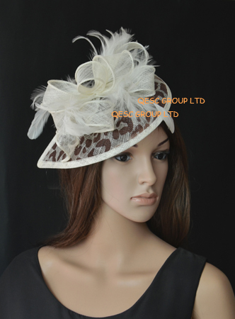 Cream brown leopard print Sinamay Fascinator hat with feather for wedding kentucky derby church,free shipping(China (Mainland))