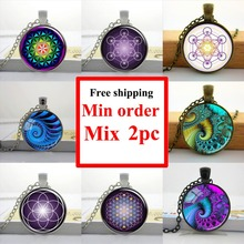 Wholesale Picture Necklace Flower of Life Pendant Chakra Necklace Sacred Geometry Jewelry Art Glass Cabochon Necklace(China (Mainland))