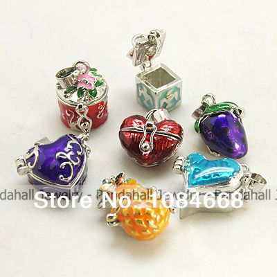 Brass Prayer Box Pendants, with Enamel, Mixed Shape, Mixed Color, 16~22x15~22x11~14mm, Hole: 4x6mm(China (Mainland))