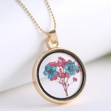 2015 Fashion Romantic Collares Dry Flowers Glass Long Statement Necklace Pendants Fine Jewelry For Women Accessories