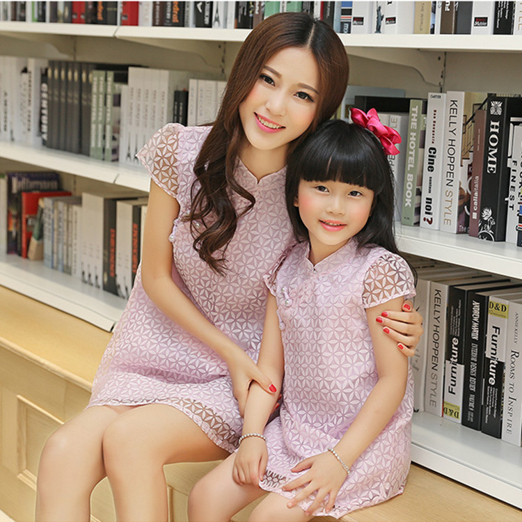 Mother and Daughter Dresses Family Matching Dresses Chinese style Outfits Party Dresses Slim Mother Daughter Dresses Clothes(China (Mainland))