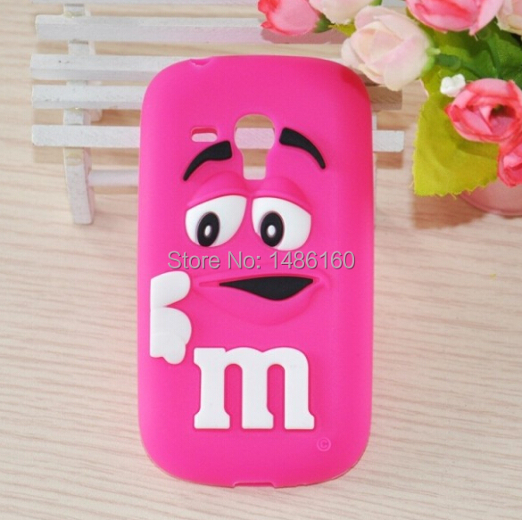 Free Shipping 3D Cute Adorable M & M Chocolate Bean Soft Rubber Silicone Snap-On Case Cover For Samsung Galaxy S3 Mini i8190(China (Mainland))