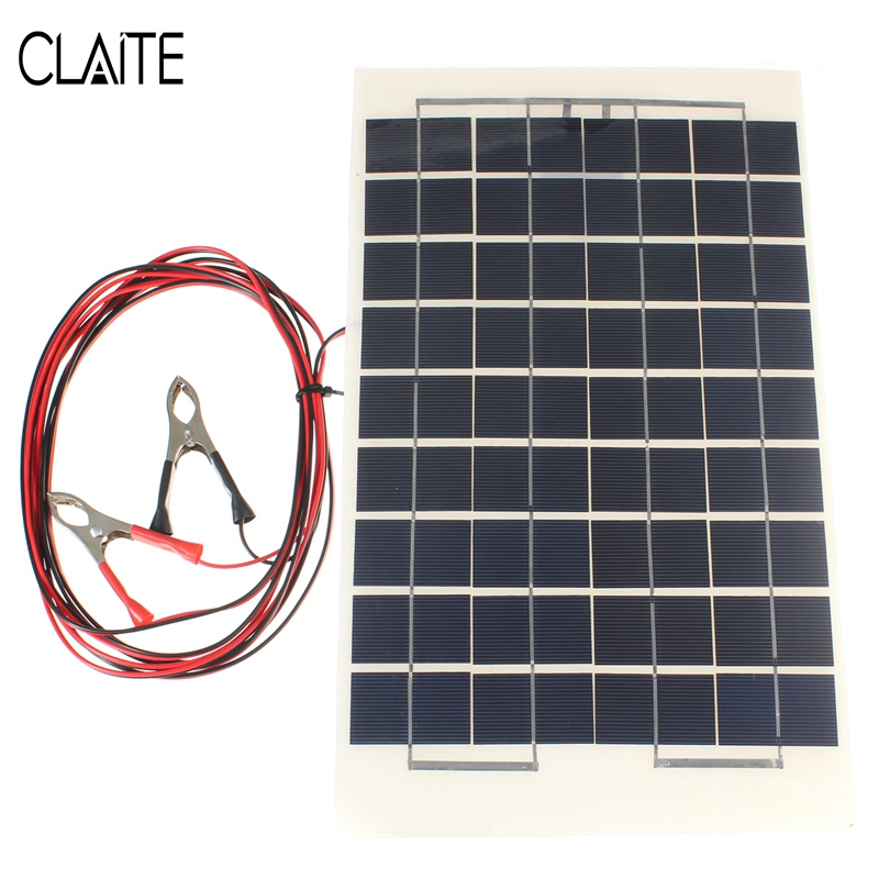 12V 10W Solar Panel PolyCrystalline Transparent Epoxy Resin Cells DIY Solar Module With Block Diode 2 Alligator Clips 4m Cable(China (Mainland))