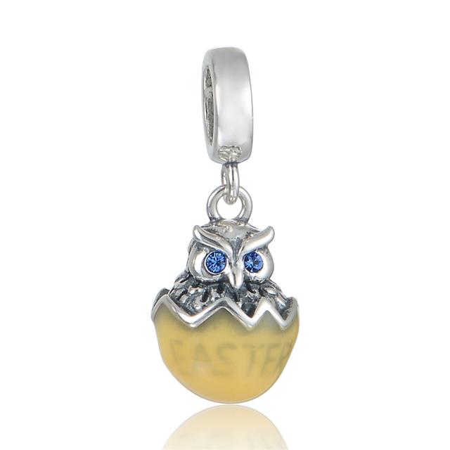925 - серебристо-ювелирные бусины сова из яйцо кристалл бусины Fit Chamilia пандора браслеты серебро 925 мода DIY