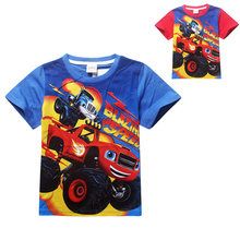 new design funny boys T-shirt anime Blaze Monster Machines patternT-shirt for 3-8yrs boys fashion male kids T-shirt clothe hot