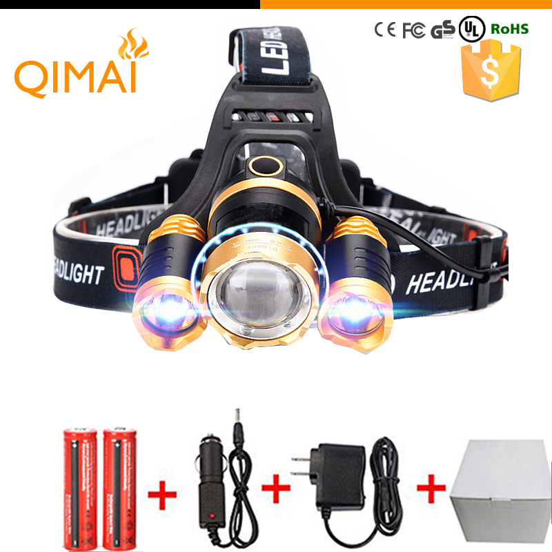 Led Headlight 8000Lm Rechargeable Headlamp Flashlight Head Torch Linterna Xml T6+2Q5 Use 18650 Battery Car Charger Fishing Light(China (Mainland))