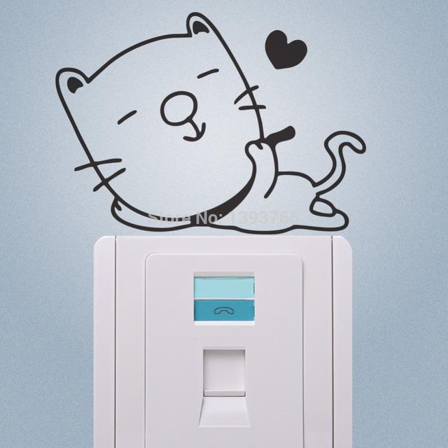 Наслаждаться жизнью кошка наклейки переключатель холодильник ноутбук телефон стикеры детская комната росписи 352 украшения дома