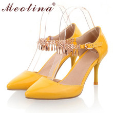 Meotina Shoes Women Sexy High Heels Wedding Shoes Pointed Toe Pumps Two Piece Heels Bling Tassel Ladies Shoes White Size 11 12(China (Mainland))