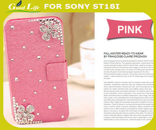 Beautiful Flower For Sony Ericsson Xperia ray ST18i Diamond Case Bling Flower Back Cover 3D Crystal Rhinestones Design Hot(China (Mainland))