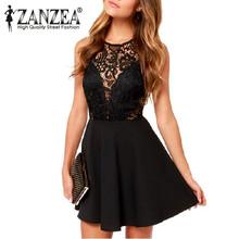 ZANZEA 2016 Summer Style Women Sleeveless Hollow Out Solid Chiffon Lace Bodycon Sexy Black Dress Casual Vestidos Plus Size(China (Mainland))