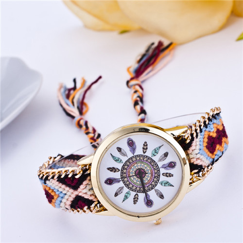 Handmade Braided Friendship Bracelet Watch New arrival feather HandWoven wristwatch Ladies Quarzt gold Watch women dress watches<br><br>Aliexpress