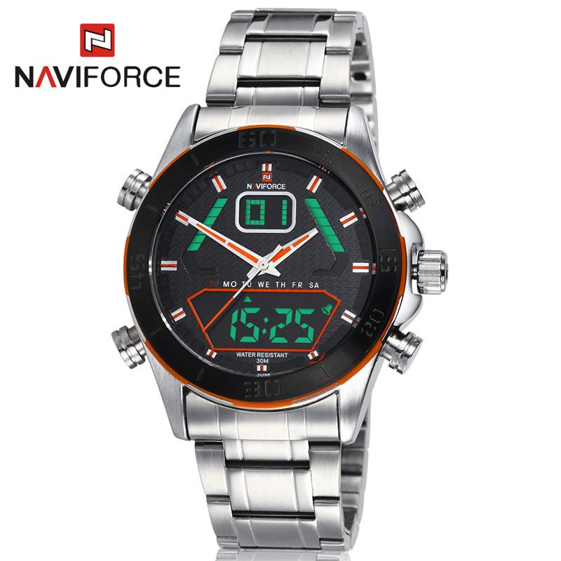 NAVIFORCE New Stainless Steel Men Watch 2 Movement Analog Digital Sport Watch Multifunction Men Wristwatch relogio<br><br>Aliexpress