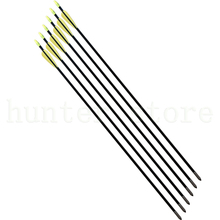 Compound bow 50lbs archery fiberglass arrow 31 insert fixed arrow tip 6pcs fletching arrow feather vane