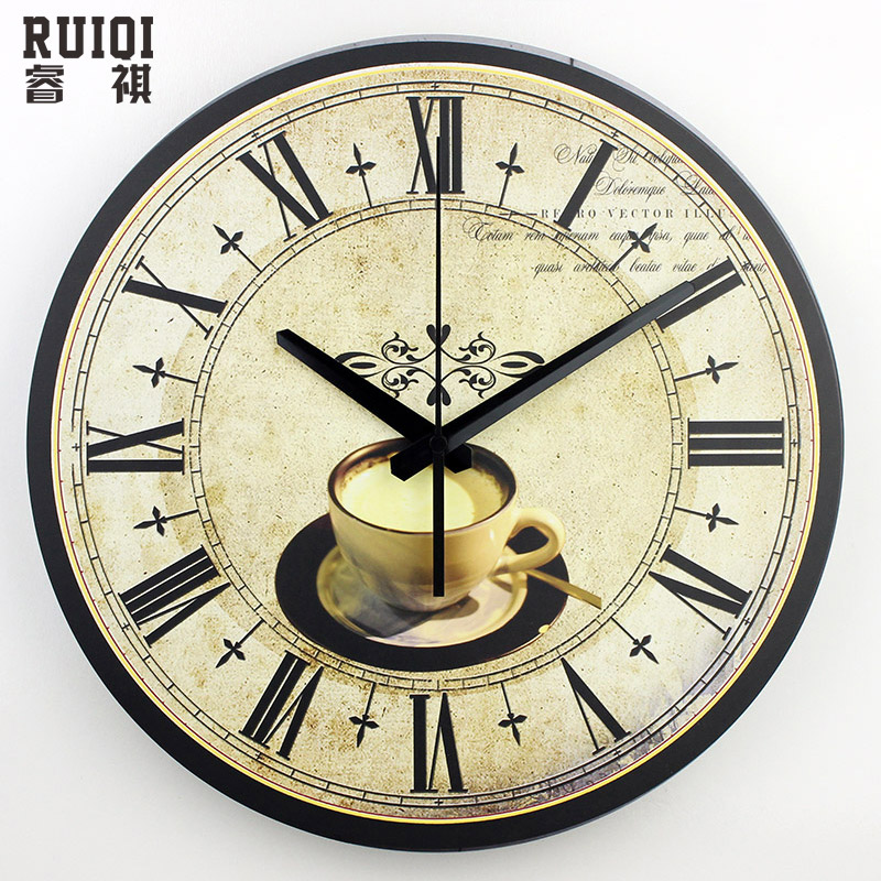 Modern Coffee Large Decorative Wall Clocks Silent Home