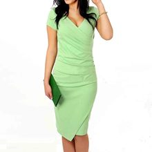 Wrap Ruched V Neck Sheath Bodycone Dress