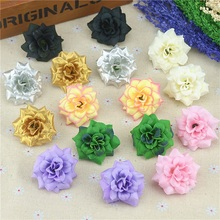 Buy 50Pcs 4.5cm Gold Handmade Mini Artificial Silk Rose Flowers Heads DIY Scrapbooking Garland Fake Flower Wedding Decorative for $3.78 in AliExpress store