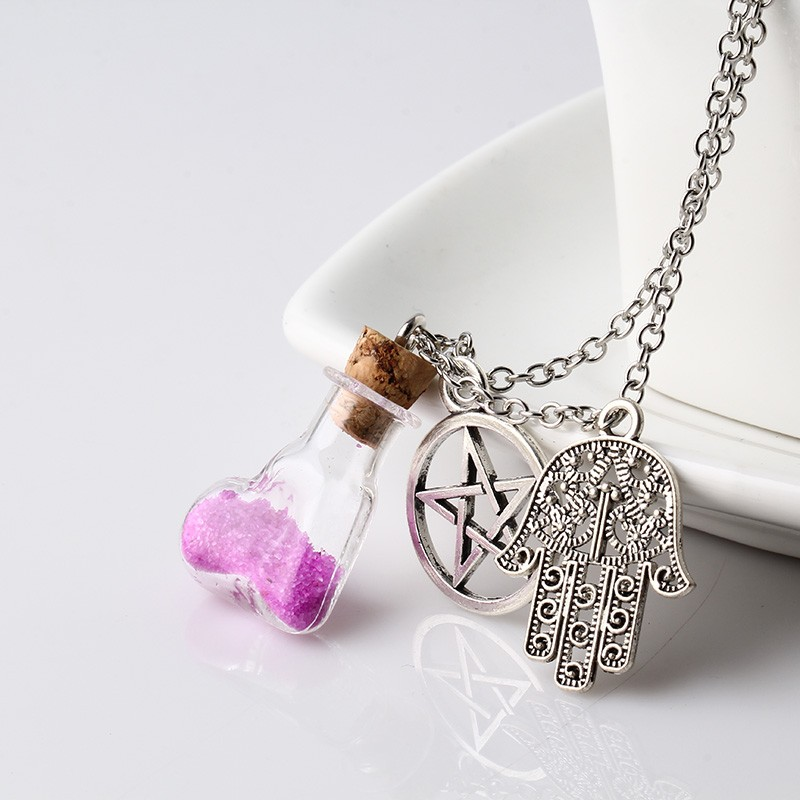 8 Color Trendy Wishing Glass Bottle Dreams Pendant Star and Vial With Cork Stopper Silver plated Necklace For Women NW2237-2244(China (Mainland))