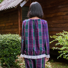 Song Riel brand winter fashion comfortable cotton long sleeved plaid pajamas couple home service men and