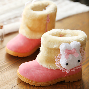 2015 Children winter boots slip-resistant snow boots rabbit child shoes girls shoes leather boots cow muscle shoes(China (Mainland))