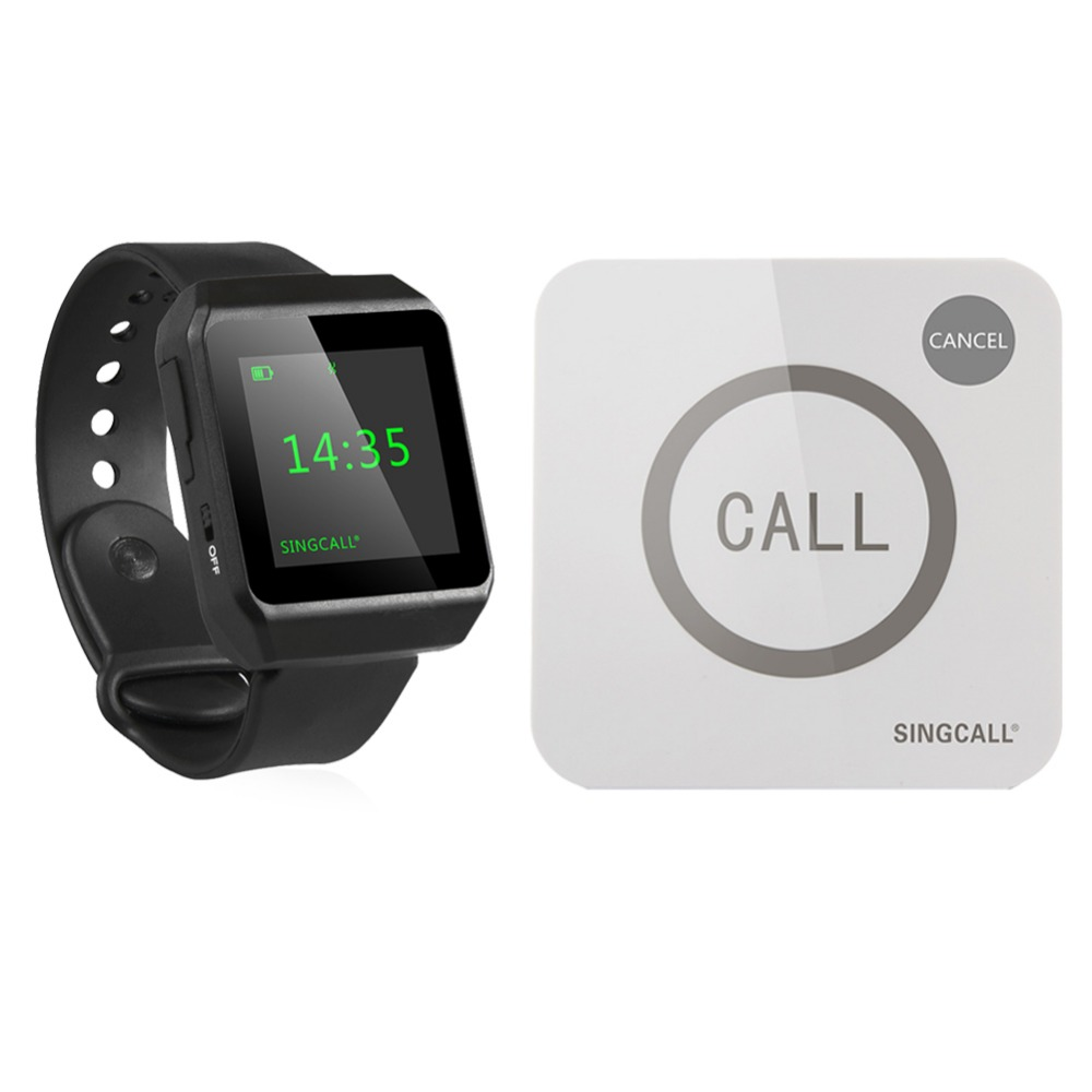 SINGCALL Wireless Restaurant Calling Service System 1 Big Screen Watch and 1 Touchable Button(China (Mainland))