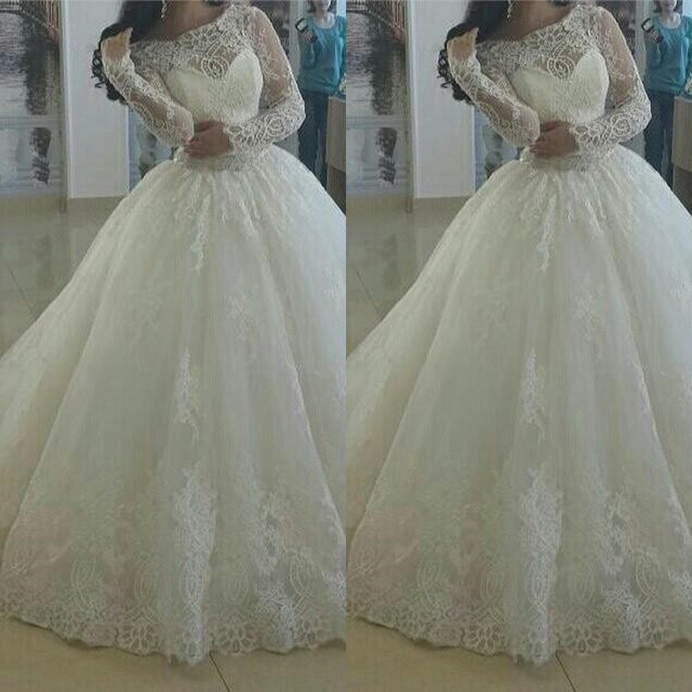 2015 vintage new design lace ball gown wedding dresses for Boat neck long sleeve wedding dress