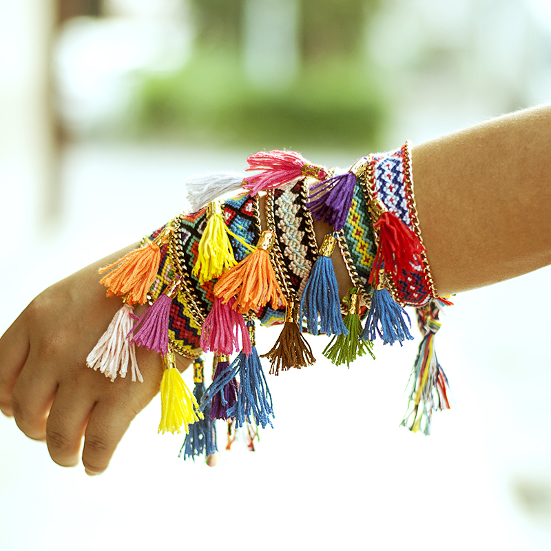 10pcs/lot Charm Braid Strands Handmade Knit Chain Bracelet Women tassel friendship bracelet