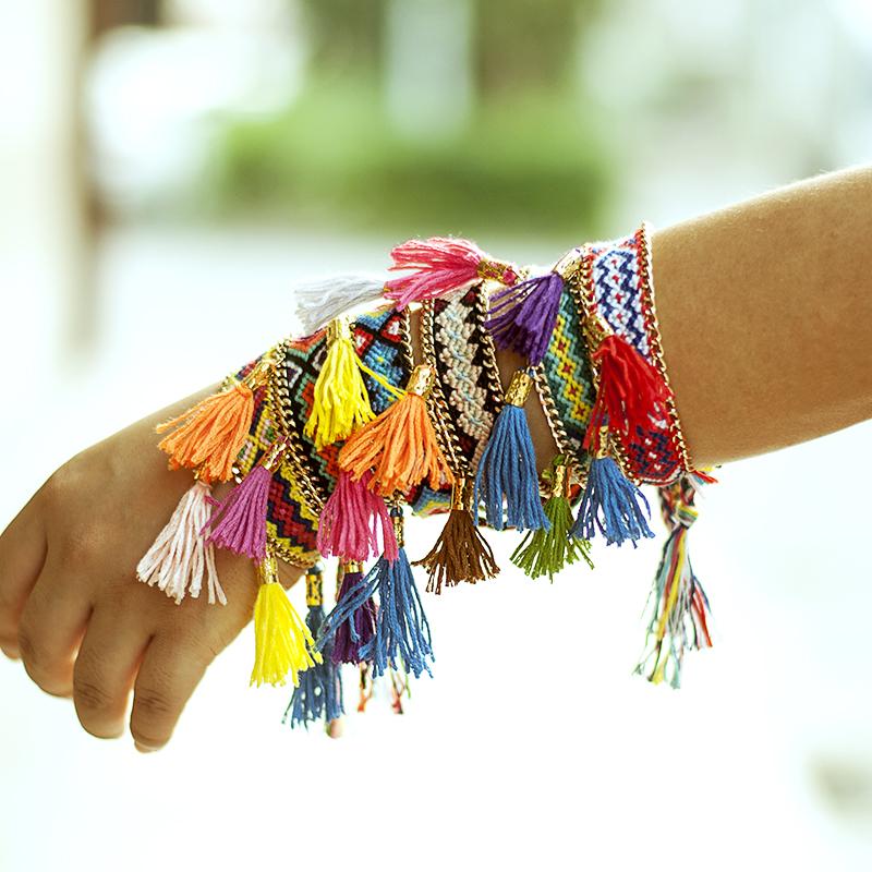 10pcs/lot Charm Braid Strands Handmade Knit Chain Bracelet Women tassel friendship bracelet