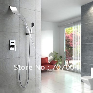 Фотография Mordern Waterfall Shower Faucet Set with Square ABS  Hand Held Shower Chrome Finish Wall Mount