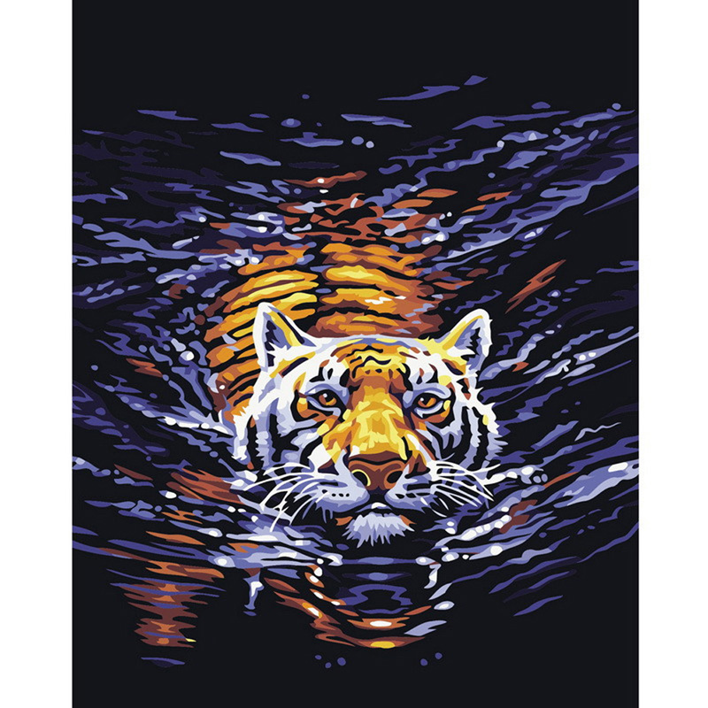 DIU#Home Beauty 1Set DIY Digital Oil Painting Frameless Canvas Home Wall Decor By Numbers Modern Abstract Tiger Pictures(China (Mainland))